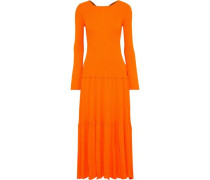 Woman Open-back Tiered Ribbed-knit Maxi Dress Orange