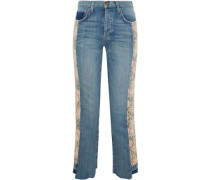Cropped floral-paneled mid-rise flared jeans