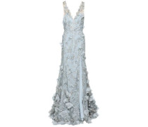 Split-front Floral-appliquéd Embroidered Tulle Gown Sky Blue Size 16