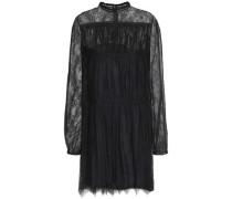 Gathered silk-lace mini dress