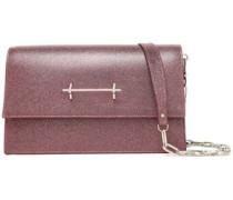 Glittered Leather Shoulder Bag Pink Size --