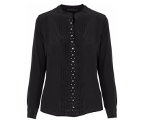 Pintucked embellished silk blouse