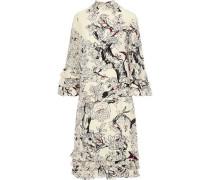 Ruffle-trimmed Printed Silk Dress Beige