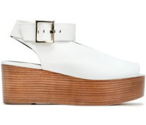 Leather Wedge Sandals White
