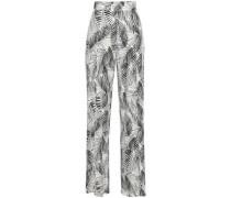 Printed Stretch-modal Jersey Wide-leg Pants Off-white