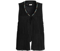Fringed embroidered suede vest