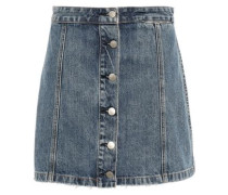 Holt Button-detailed Frayed Denim Mini Skirt Mid Denim  4