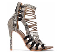 Ermmana suede-trimmed python-effect leather sandals