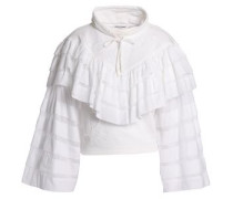 Ruffled tiered embroidered French cotton-terry sweatshirt