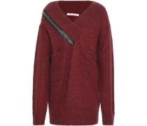Embellished Ribbed-knit Sweater Claret