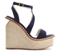 Braided leather-trimmed suede platform wedge sandals