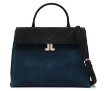 Woman Two-tone Suede Shoulder Bag Midnight Blue
