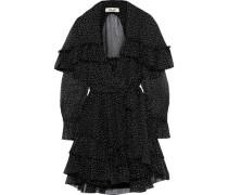 Martina Tiered Polka-dot Silk-georgette Mini Wrap Dress Black