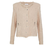 Agnette Distressed Cotton Bouclé-tweed Jacket Beige