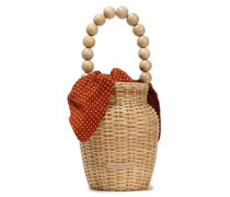 Louise Bead-embellished Rattan Tote Beige Size --