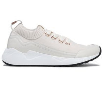 Woman Embellished Leather-paneled Stretch-knit Sneakers Off-white