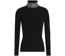 Crystal-embellished ribbed- knit turtleneck sweater