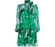 Pussy-bow printed silk-chiffon dress