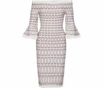 Laser-cut Stretch-knit Dress White