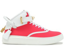Embellished neon leather and neoprene high-top sneakers