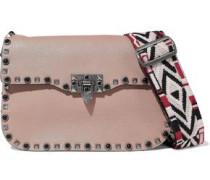 Rockstud Rolling Textured-leather Shoulder Bag Neutral Size --