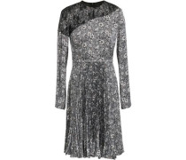 Lace-paneled Pleated Printed Cady Dress Gray