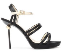 Patent Leather-trimmed Satin Sandals Black
