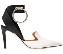 Woman Ring-embellished Two-tone Leather Pumps White