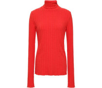 Ribbed-knit Turtleneck Sweater Red