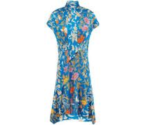 Tie-neck Floral-print Hammered Silk-blend Satin Dress Cobalt Blue