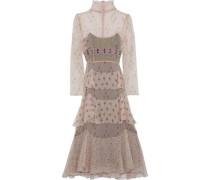 Tiered Printed Silk-chiffon Midi Dress Pastel Pink