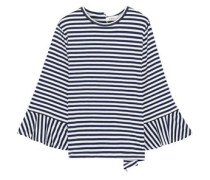 Fluted Striped Stretch-jersey Top Navy