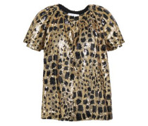 Baguy Metallic Leopard-print Tulle T-shirt Gold