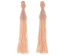 Gold-tone Beaded Tassel Clip Earrings Blush Size --