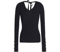 Open-back ribbed merino wool sweater