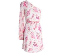 One-shoulder printed silk-georgette mini dress