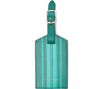 Striped Leather Luggage Tag Emerald Size --