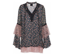 Corded lace-paneled floral-print silk-georgette top