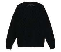 Open-knit Wool-blend Sweater Black