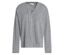 Larken Lace-up Mélange Stretch-knit Sweater Gray