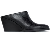 Croc-effect leather mules
