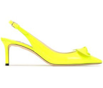 Blare Bow-embellished Neon Leather Slingback Pumps Bright Yellow