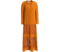 Gathered Crepe De Chine And Cotton-blend Corded Lace Midi Dress Orange