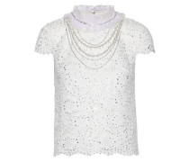Woman Sarina Ruffle-trimmed Embellished Corded Lace Top Off-white