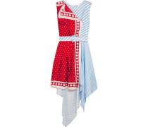 Asymmetric printed silk-twill mini dress
