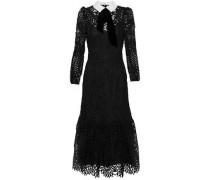 New Moon velvet and poplin-trimmed corded lace midi dress