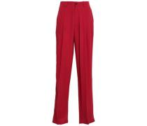 Woman Pleated Silk-crepe Wide-leg Pants Claret