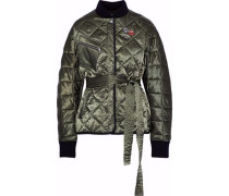 Liberty belted embellished quilted satin jacket