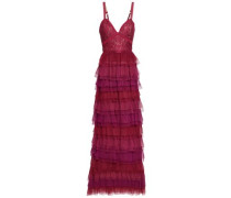 Tiered Leavers Lace-paneled Plissé-tulle Gown Magenta Size 14
