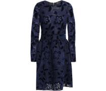 Flared Velvet And Lace Mini Dress Navy